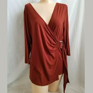 Coldwater Creek Copper Wrap V-neck Tunic Top M
